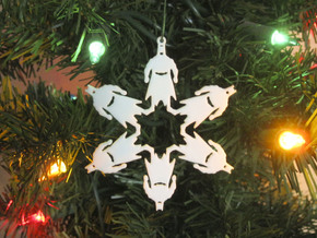 Snowflake Batman Ornament  in White Strong & Flexible