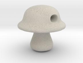 Baby Portabella Mushroom Bead in Natural Sandstone