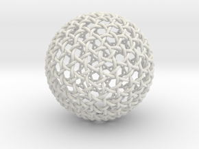 Hexa Weave Sphere in White Natural Versatile Plastic