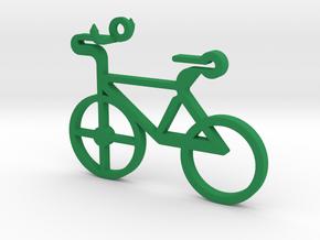 Bicycle Pendant in Green Processed Versatile Plastic