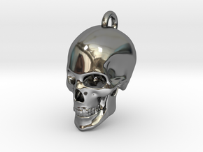 Human skull Pendant in Fine Detail Polished Silver