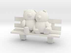 Bears on bench in White Strong & Flexible
