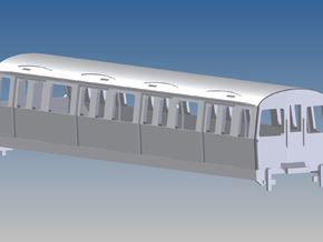 C-Stock trailer London Underground in White Natural Versatile Plastic: 1:87 - HO