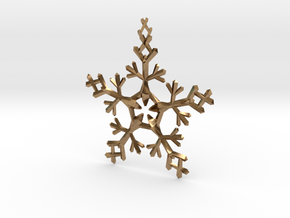Snow Flake 5 Points - w Loopet - 7cm in Natural Brass