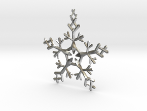 Snow Flake 5 Points - w Loopet - 7cm in Natural Silver