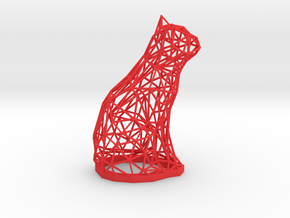 Cat wire frame sculpture in Red Processed Versatile Plastic