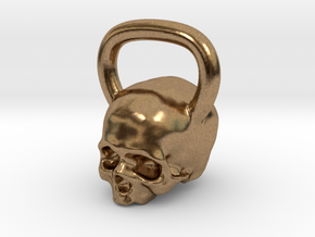 Kettlebell Skull Pendant .75 Scale in Natural Brass
