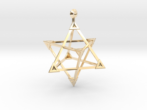 Merkaba Sharp Caps - w Loopet - 5cm in 14K Yellow Gold