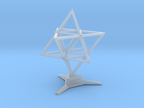 Merkaba Wire 1 W Base 5cm in Smooth Fine Detail Plastic