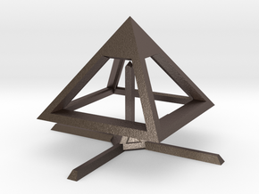 Pyramid Mike B 4cm in Polished Bronzed Silver Steel