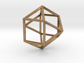 Cube Octohedron - 5cm in Natural Brass
