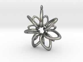 RingStar 7 points - 5cm, Loopet in Natural Silver