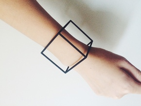Cube Bracelet-large in Black Natural Versatile Plastic