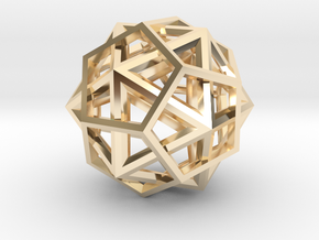 IcosoDodecahedron Thick - 3.5cm in 14K Yellow Gold
