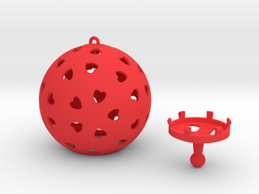 DRAW ornament - hearts large 2 piece in Red Processed Versatile Plastic