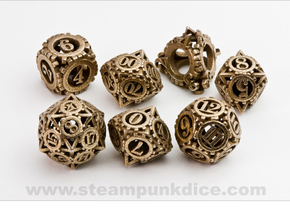 Steampunk Gear Dice Set in Polished Bronzed Silver Steel