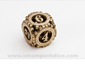 Steampunk Gear d6 in Stainless Steel