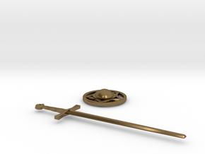 Sword and Buckler Earrings in Natural Bronze