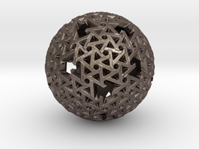 Trapezoidal Sphere in Polished Bronzed Silver Steel