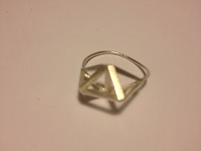Amplituhedron Ring  in Natural Silver: 8 / 56.75