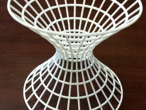 Hyperboloid showing hyperbolic and elliptic cross  in White Natural Versatile Plastic