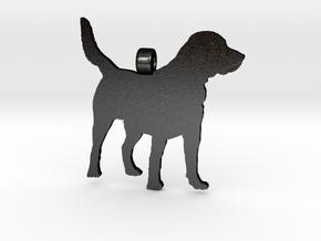 Labrador Retriever Silhouette Pendant in Matte Black Steel