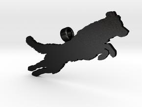 Jumping Golden Retriever Silhouette Pendant in Matte Black Steel
