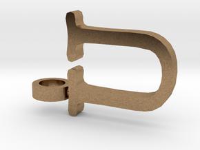 U Letter Pendant in Natural Brass