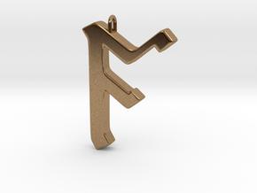 Rune Pendant - Āc in Natural Brass