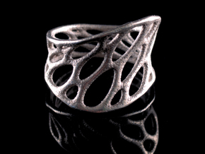 1-layer twist ring in Polished Bronzed Silver Steel: 7 / 54