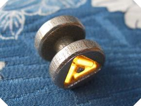 Barbell Bead: Tritium (2x6mm Vials) in Polished Bronzed Silver Steel