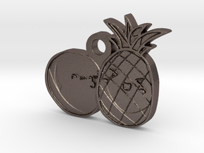 Love Fruits Pedant in Polished Bronzed Silver Steel