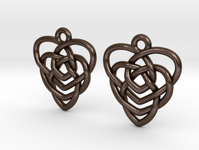 Celtic Motherhood Knot Earrings in Polished Bronze Steel