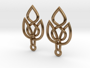 Celtic Knot Leaf Earrings in Natural Brass