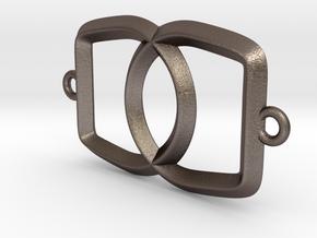 Linked Bottle Opener in Polished Bronzed Silver Steel