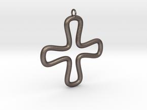 Minimalist Cross 2 in Polished Bronzed Silver Steel