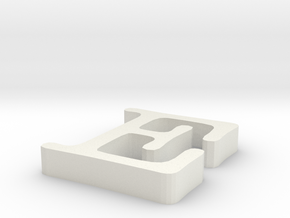 E Letter in White Natural Versatile Plastic