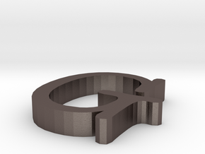 G Letter in Polished Bronzed Silver Steel