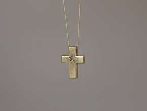 CrossStar1 Pendant in Natural Brass