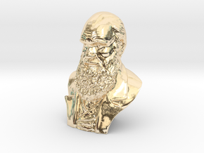 "Charles Darwin 3"" Bust in 14K Yellow Gold"