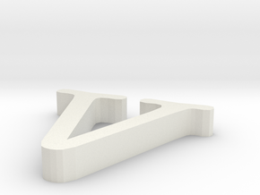 V letter in White Natural Versatile Plastic