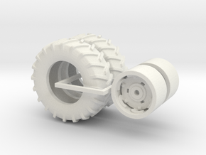 1:64 scale 18.4-28 Massey Ferguson Rims And Tires in White Natural Versatile Plastic