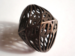 Twisty Spindle d20 in Polished Bronze Steel