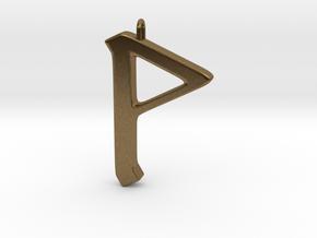 Rune Pendant - Wynn in Natural Bronze