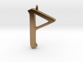 Rune Pendant - Wynn in Natural Brass