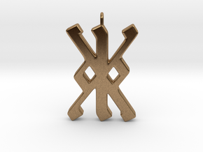 Rune Pendant - Kalc (kk) in Natural Brass