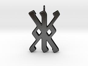 Rune Pendant - Kalc (kk) in Matte Black Steel