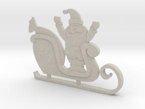 Santa's Sleigh Ornament 4 in Natural Sandstone