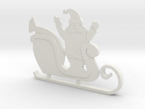Santa's Sleigh Ornament 4 in White Natural Versatile Plastic