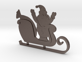 Santa's Sleigh Ornament 4 in Polished Bronzed Silver Steel